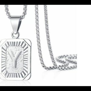 """White Gold Filled Letter Y Pendant 20"""" Necklace"""